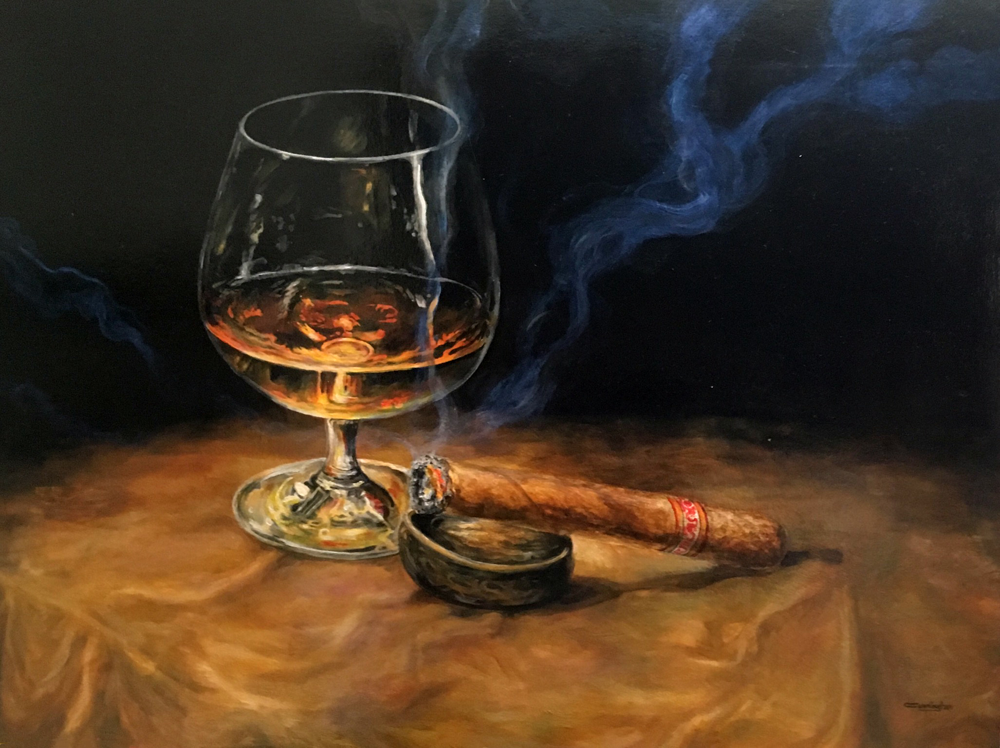Brandy with Montecristo - Patrick Cunningham - Legacy Fine Art Gallery