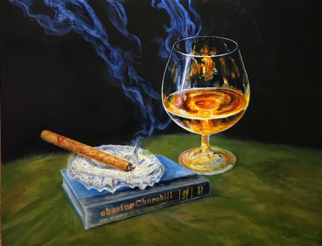 Cigar with Winston Churchill - Patrick Cunningham - Legacy Fine Art Gallery