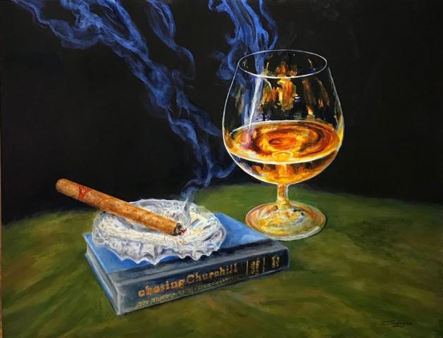 Cigar with Winston Churchill - Patrick Cunningham - Legacy Fine Art Gallery