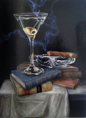 Martini and Cigar with Hemingway- Patrick Cunningham - Legacy Fine Art Gallery